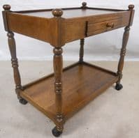 Antique Jacobean Style Two Tier Tea Trolley with Drawer - SOLD